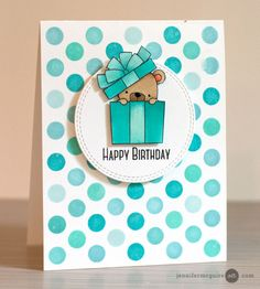 Using Background Dies as stencils (MFT Polka Dot Cover Die-namics + MFT Beary Special Birthday)