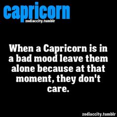 When A Capricorn Is In A Bad Mood Leave Them Alone Because At That Moment, They Don't Care. When I'm in a bad mood, I really do not care. Zodiac Capricorn, Capricorn Quotes, Zodiac Signs Capricorn, Capricorn And Aquarius, My Zodiac Sign, Zodiac Facts, Capricorn Season, Zodiac City, Taurus