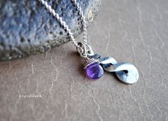 AMETHYST INFINITY sterling silver and wrapped faceted amethyst briolette necklace choices by srgoddess