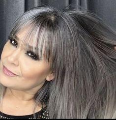 Brown Hair Going Grey, Grey Hair With Bangs, Ash Grey Hair, Ash Hair, Long Gray Hair, Going Gray, Gray Hair Growing Out, Grow Hair, Grey Hair Inspiration