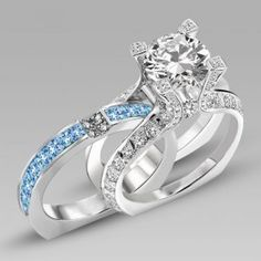 Brilliant Cut Aquamarine Created Sapphire Two-in-One 925 Sterling Silver Women's Wedding Ring Set / Engagement Ring