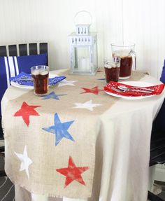 DIY table runner with stars - perfect for the 4th of July