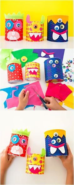Recycled Tin Can Felt Monsters. Cute not scary Halloween craft for kids.