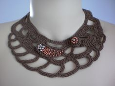 Fall Fashion Brown Crochet Necklace Crochet Jewelry Lace Holiday Accessories
