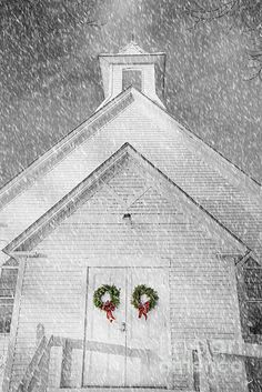 Church with Christmas Wreaths on the doors, Farmington, Maine by alana ranney