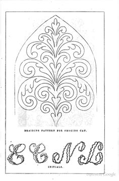Braiding pattern for smoking cap, Lady's Home, 1857.