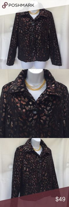 Erin London black bronze gold jacket small woman's Erin London block bronze jacket very soft. Size small. Made in China. 100% polyester. Worn a couple of times only. in excellent condition. Women's Ladies Fashion. Check out my closet, we have a variety of women's, men's, kids, Victoria Secret, Bath & Body Works, bags, Aerosoles, shoes, fashion jewelry, rings, bracelet, necklace, earrings, clothing, dress, tops, blouses, skirts, Beauty, home & more...  Ships via USPS. Pet-Free & Smoke-Free…