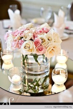 mirror and candles wedding centerpiece ideas #weddingcandlesdesign
