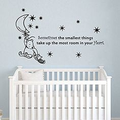 Wall Decals Quotes Winnie the Pooh Quote - Sometimes the Smallest Stars Moon - Kids Baby Childrens Room Bedroom Nursery Dorm Vinyl Sticker Wall Decor Murals