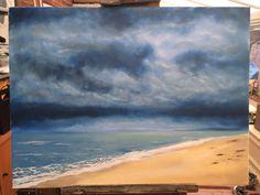 "Big Blue Skies, a beach scene in oils on canvas 18"" x 22""  #oilpainting #canvas #Norfolk #Art"