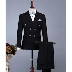 Men Black Double Breasted Slim Fit Wedding Prom Dress Suits SKU-123202