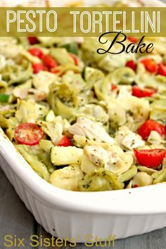 How delicious does this Pesto Tortellini Bake look? | Six Sisters' Stuff