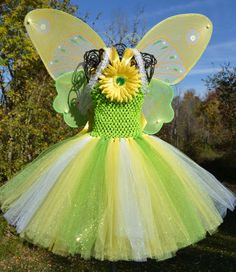 Girls yellow lime and white sparkly tutu. Large by iSparklebaby Tinkerbell Party, Tutu, Lime, Christmas Ornaments, Disney Princess, Yellow, Holiday Decor, Disney Characters, Unique Jewelry