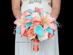 Beach Wedding Flower brides bouquet in coral, peach, malibu with lilies