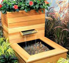 DIY Landscaping & Garden, Woodworking Plans & Projects - Wood Planter Fountain Project Plan.  I love this!