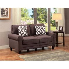portfolio engle barley tan linen armless loveseat brown fabric loveseats linens and office makeover