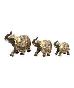Look what I found on #zulily! Gold Elephant Figurine Set #zulilyfinds