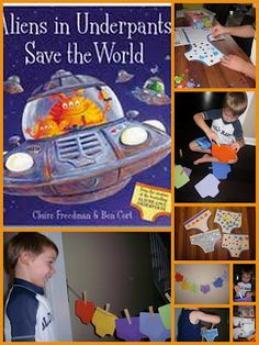 Aliens in Underpants Save the World by Claire Freedman and Ben Cort, Storytelling fun activities, preschool book games, Crystal's Tiny Treas. Aliens, New Books, Good Books, Summer Reading Program, Space Theme, Matching Games, Book Crafts, Learning Activities, Educational Activities
