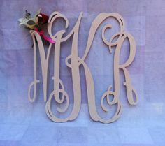 """22"""" Vine Script Three Letter Monogram- Wood Letter monogram-home decor- wedding decor. $27.00, via Etsy."""