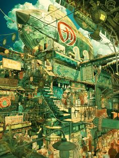 This puts me in mind of the 'End of the world' dirigible / party scenes which I think were in Hydrogen Sonata ? Tekkonkinkreet by Taiyo Matsumoto