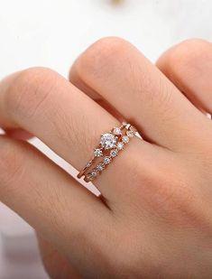 34f2944fc5 Moissanite engagement ring rose gold Vintage Diamond wedding ring set  Dainty antique Brilliant Bridal Jewelry Half
