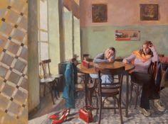 Cafe - Pavlos Samios, 2007 Greek, Acrylic on canvas, 90 x 120 cm. Greece Painting, Mediterranean Art, 10 Picture, Greek Art, Fresco, Les Oeuvres, Contemporary Art, Folk, Auction