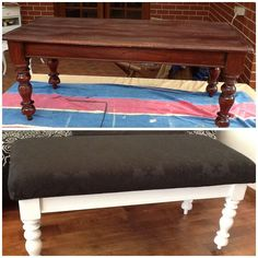 From coffee table to ottoman. www.facebook.com/Jomarievintagefurniture