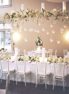 White is typical for winter when everything is covered with snow. Rock white with a touch of sparkle or icy blue to get refined wedding decor.