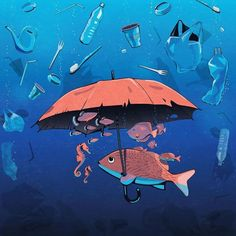 The illustration conveys the idea of plastic pollution effectively and targets a range of audiences to signify that the fishes have to watch out for plastic. Art And Illustration, Illustration Inspiration, Inspiration Art, Art Inspo, Ocean Pollution, Plastic Pollution, Art Sketches, Art Drawings, Art Environnemental