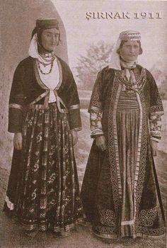 Women in urban festive costumes, from Şırnak, late-Ottoman, Probably Armenian. Bergen, Armenian Culture, The Kurds, Historical Costume, Simple Dresses, Traditional Outfits, Men Dress, Character Design, Costumes