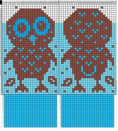 No instructions for mittens, just graphed owl chart to add to your own mitten pattern. Owl Knitting Pattern, Knitted Mittens Pattern, Knit Mittens, Knitting Charts, Knitted Gloves, Knitting Designs, Knitting Stitches, Knitting Yarn, Baby Knitting