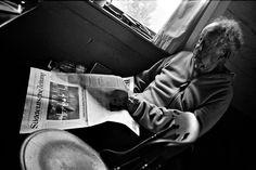 Robert Frank viewing his catalog. September 2014. © Gerhard Steidl. http://artdaily.com/news/86190/Steidl-and-UCLA-College-present--Robert-Frank--Books-and-Films-1947-2016--at-Bergamot-Station#.Vv48upyLTGg