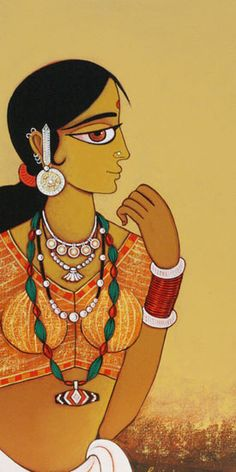 Ideas painting woman outline for 2019 Indian Artwork, Indian Folk Art, Indian Art Paintings, Indian Artist, Mural Painting, Fabric Painting, Figure Painting, Madhubani Art, Madhubani Painting