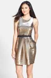 Eliza J Belted Metallic Tulip Dress available at Nordstrom.