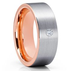 White Diamond Tungsten Ring - Rose Gold Tungsten Ring - Tungsten Carbi – Clean Casting Jewelry Black Tungsten Rings, Tungsten Wedding Rings, Wedding Rings Rose Gold, Gold Wedding, White Diamond Ring, Tungsten Carbide, Black Rings, Rings For Men, Custom Engraving