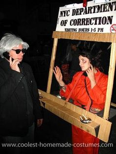 Halloween 2011 Coolest Homemade Costume Contest Finalist.  Prisoner in a Visiting Booth costume submitted by Serra from Brooklyn, New York...