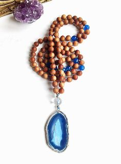 Blue Skies Mala 108 Bead Meditation Mala by InnerFireJewelry