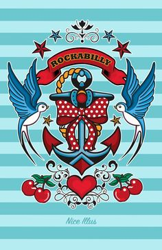 Rockabilly Style No.1 Art Print by Nice Illus Swallows with anchor design