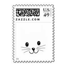 Cute Cat Face. Postage Stamp. This is customizable to put a personal touch on your mail. Add your photos or text to design your own stamp that can be sent through standard U.S. Mail. Just click the image to try it out!