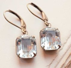 Estate Style Vintage Octagon Crystal Earrings by NotOneSparrow, $22.00