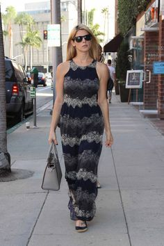 Who made Ashley Greene's print maxi dress, gray handbag, and blue ballet flat shoes? Ashley Green, Michael Kors Selma, Leather Mini Skirts, Star Fashion, Nice Dresses, Celebrity Style, Dress Up, Clothes, Ella Moss