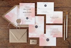 Mod Watercolor Wedding Invitations by Rachel Marvin Creative