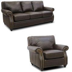 Luke Leather   Mason 2 Piece Arabica Italian Leather Sofa Set In Closeout    MASON
