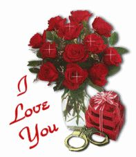 I Love You Red Roses Glitter