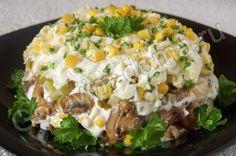 Салат Осенний (с курицей, грибами и маринованными огурцами)