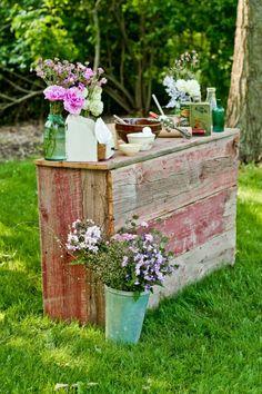 Barn wood bar - fun for gatherings!
