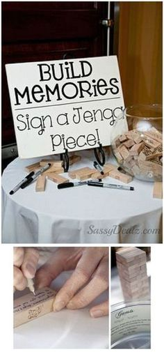 Alternative Wedding Guest Book or house warming Ideas – Jenga, Corks, Wishing Stones...love it!