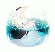 Anime, manga, and video game fan-art artworks from Pixiv (ピクシブ) — a Japanese online community for artists. pixiv - It's fun drawing! Anime Art Girl, Manga Art, Pretty Art, Cute Art, Desenho Pop Art, Illustration Art, Illustrations, Kawaii Art, Aesthetic Art