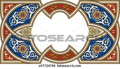 Clip Art of Red, Blue and Gold Floral Arabesque Design u17724796 ...