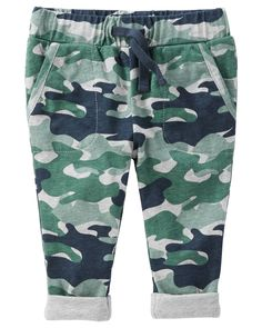Baby Boy Pull-On Camo Print Jersey-Lined Pants | OshKosh.com